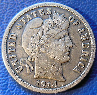 1914 D Barber Dime Very Fine to Extra Fine XF Liberty Head 10c US Coin BD156
