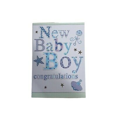 new baby boy birth congratulations blue colourful quality greeting card