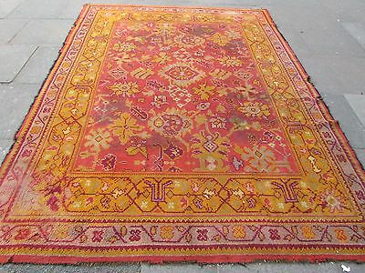Antique Hand Made European Donegal? Oushak Wool Orange Large Carpet 296x220cm