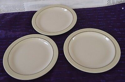 "Set of three Hornsea Side Plates (6.25"") White centre, oatmeal rim, grey line"