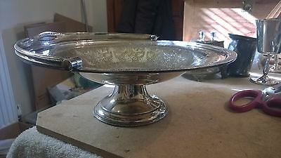 Silver Plate Pedestal Fruit Bowl With Moving Handle 11 Inches Diameter