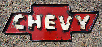 Recycled Tin Metal CHEVY Bow Tie Sign Gas Oil Garage Man Cave Home Decor #2