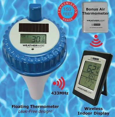 FLOATING POOL SPA HOT TUB TEMPERATURE THERMOMETER w/WIRELESS DISPLAY ALARM CLOCK