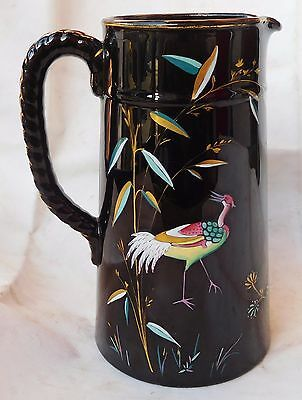 Antique Aesthetic Movement  Pottery Jug , Jackfield Glaze , Exotic Birds