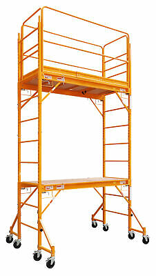 12 Ft Scaffold 2 Story Rolling 1000 lb. Capacity Painting Drywall Scaffolding HD