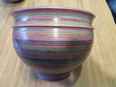 """Tom Foster Turned 9""""x7"""" Wood Bowl,Signed,Hand Turned Layered Multi-Dyed Wood"""
