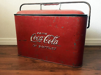"Vintage 1950's Progress Refrigerator Metal Coca Cola ""A"" Model Cooler Ice Chest"