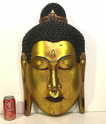 """Large 26"""" Carved Gilt Wood ASIAN BUDDHA HEAD Wall Mask CHINESE"""