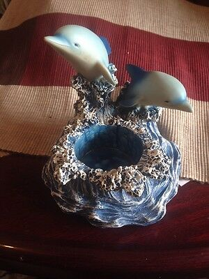 2 Blue Dolphins Swimming Jumping Blue Porpoises Votive Candle Holder 7 x 7 x 6