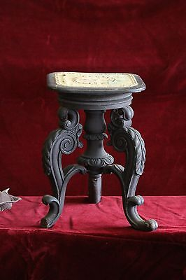 Extremely Ornate Black Antique Organ or piano stool S-25