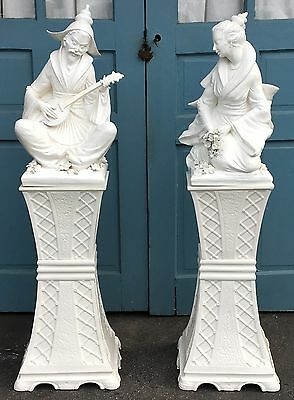 "Pair Vintage 56"" White ITALIAN PORCELAIN CHINESE FIGURES on PEDESTALS"