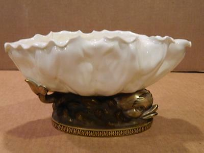 Paris Porcelain White Oval Bowl Seated on 2 Gold Dolphins  #325 Antique