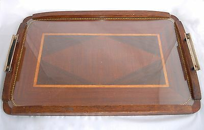 Art Deco Large Inlaid Wooden Marquetry Butlers Tray, Protective Glass