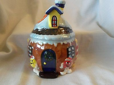M.M. Ceramic Christmas Holiday House Treat Jar Candy, Cookie Jar New