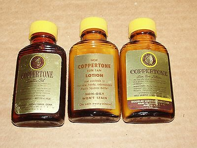 Vintage Coppertone Sun Tan Oil & TWO Coppertone Lotion 6 Drams Each NOS Unopened
