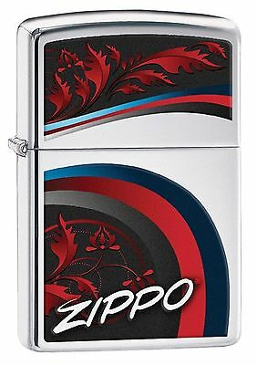 Zippo Windproof Lighter With Logo, Satin and Ribbons, 29415, New In Box