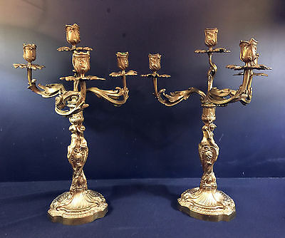 Antique French Brass Candlebra--Lovely 19Th Century--Buy It Now!