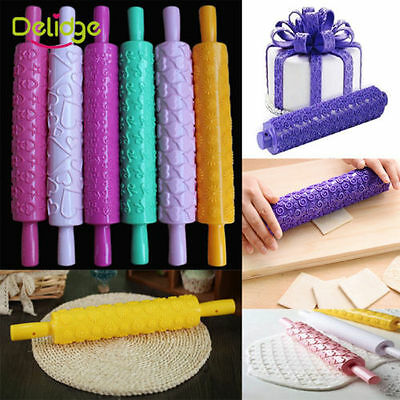 Fondant Cake Rolling Pin Emnossing Sugarcraft Decorating Mold Gum Paste Tools