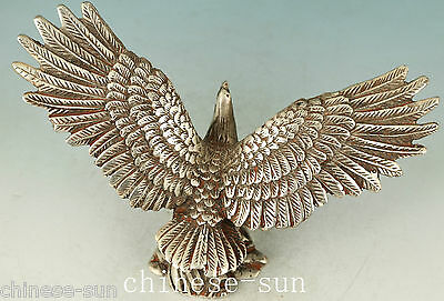 Chinese Old Copper Plating Silver Handmade Casting Eagle Collect Statue Figure