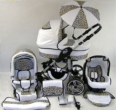 Pram Stroller Pushchair 3in1 ORION + FREE Car seat +UMBRELLA - 46 colours