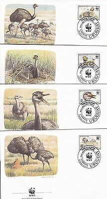 Birds Nandu Greater Rhea Uruguay 1993 WWF 4 Official First Day Covers