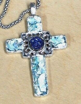 Roman Glass Silver 925 Fragments 200 B.C Cross Necklace Ancient Holy Land I srae