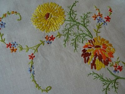 """Large Vintage Vibrantly Coloured Hand Embroidered Linen Tablecloth 40""""x38"""""""
