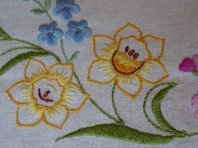 """Colourful Vintage Hand Embroidered Tablecloth 30"""" Square (76cm) Spring Flowers"""