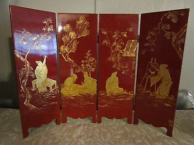 Antique Chinese Red Lacquer Signed Four Panel Folding Table Screen