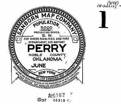 Perry, Oklahoma~Sanborn Map© sheets~ 16 maps on CD