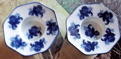 Vintage Pair Blue/White Ceramic Taper Candle Holders