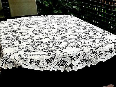 Outstanding Antique Round Tablecloth  'point De Venice ' Italy C 1950's