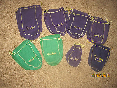 Lot of 33 Mixed New and Vintage Crown Royal BagsPurple Green! Rods~Quilting