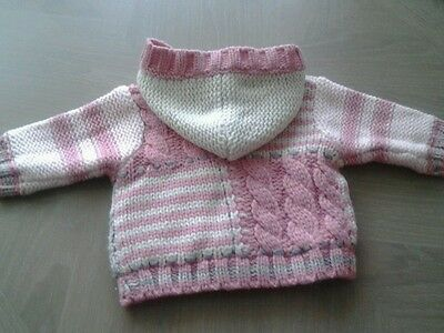 Next Baby Girl Fully Lined Chunky Knit Cardigan Age 0 - 3 Months Worn Once !!