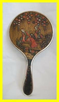 Chinese Influence Silver Hand Mirror,henry Clifford Davis,lacquer Work,birm 1925