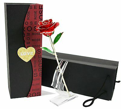 Langxun 24K Gold Trimmed Long Stem Real Red Rose with Moon-shape Flower Stand.