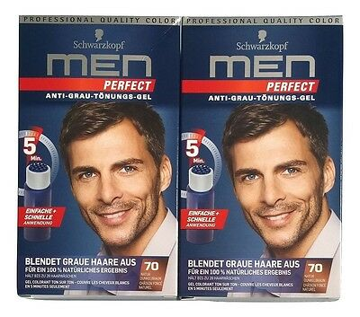 2x Schwarzkopf Men Perfect Anti Grau Tönungsgel 70 Natur Natur