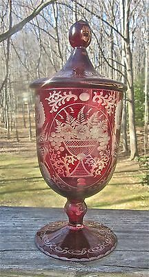 Antique Cranberry Etched Glass Covered Jar Bowl Dish Victorian Art Nouveau