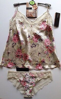M&S SILK CAMISOLE & SHORT 12 Rosie Autograph Silk & Lace Stone RRP £47.50 BNWT