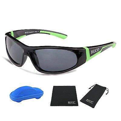 Duco Kids Sports Style Polarized Sunglasses Rubber Flexible Frame For Boys And G