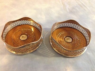 PAIR Antique Wine Bottle Coaster Pierced Silver Plated On Copper