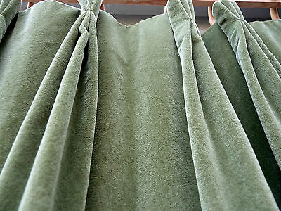 2 Very Heavy,wide Vintage Cotton Soft Velvet Quality Curtains. Mossy Olive