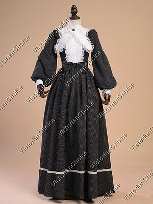 Civil War Victorian Vintage Dress Gown Witch Ghost Women Halloween Costume 191