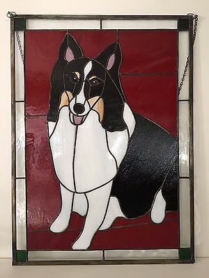 "Vintage Large Stained Glass Window Panel Siberian Husky, 17 1/4"" x 23 3/4"""