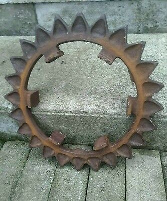 Large Vintage Wheel Rustic Metal Farm Gear Spiked Garden Wall Art Steampunk