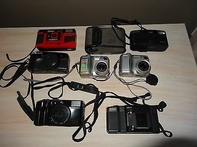 Vintage Lot of 7 Cameras 5 35MM 2 Digital Vivitar Olympus Pentax Kodak Nikon