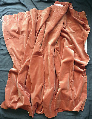 2 Heavy,wide Vintage Cotton Soft Velvet Quality Curtains. Beautiful Pinky Coral