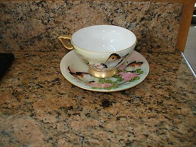 Vintage Butterfly Handle Cup Saucer Hand Painted Signed Pink Flowers Gold Rare