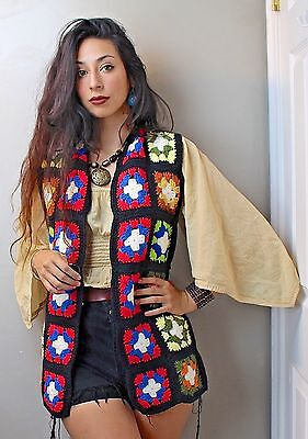 Hippie Festival 70's Vintage Handmade Granny Square Vest Great Vintage Condition