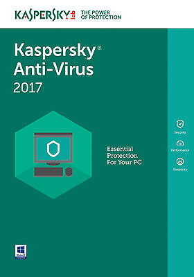 Kaspersky Anti-Virus 2017 3PC / 1Year / Antivirus / Download